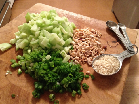 cucumber scallion peanuts sesame seeds